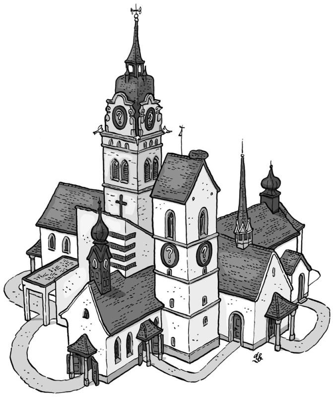 Kirchenfusion Zeichnung von Uli Bosshard
