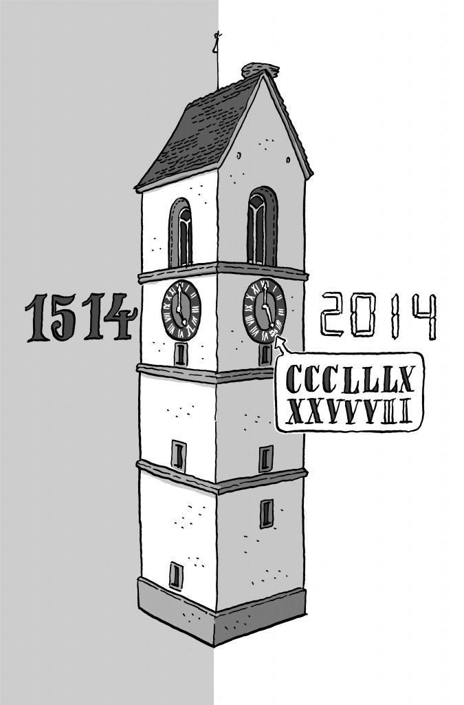 140304_Kirchturm CCCLLLXXXVVVIIIII